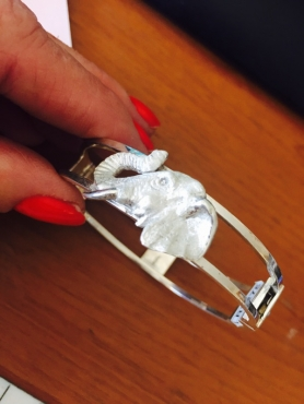 Silver Elephant head bangle
