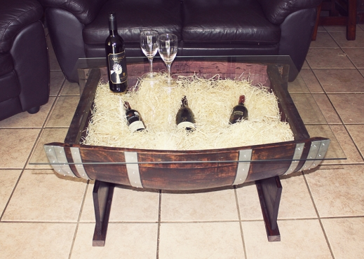 Beautiful Coffee And Side Tables Made From Oak Wine Barrels For Sale
