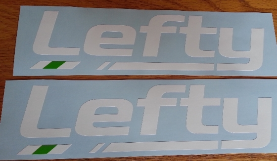Pair of LEFTY bicycle shock decals stickers graphics