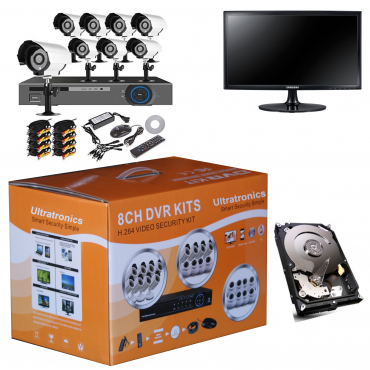 Complete 8 Channel CCTV D.I.Y Kit with HD Day/Night Indoor/Outdoor Cameras plus 500 and Mon.