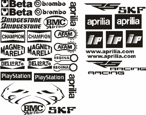 Pair off aprilia factory decals stickers graphics