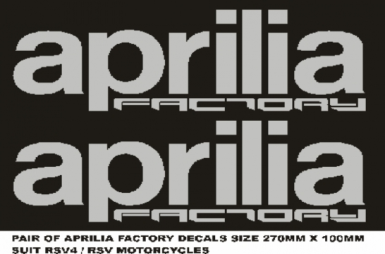 Pair of Aprilia Factory lower fairing decals stickers graphics