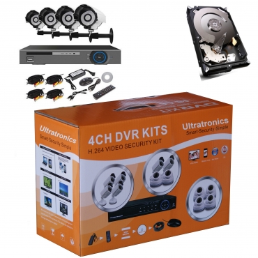 Complete 4 Channel D.I.Y CCTV Kit with HD Outdoor/Indoor Cameras plus 500 GB Hard Drive