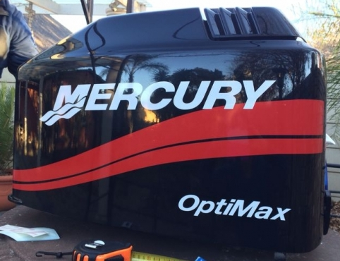 Mercury 15 HP outboard motor cowl decals stickers graphics