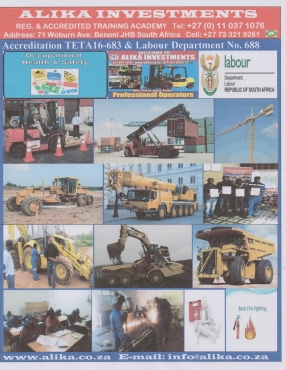Reg. & Accredited Training: Forklift, TLB, Excavator, ADT, M/crane Welding: Boiler-miking Argon CO2