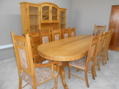Magnificent 10 Seater 12 Piece Solid Oak Dining Set