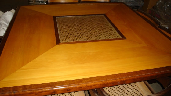 Yellowwood & Stinkwood Large Dining Room Table + 8 Chairs + a Large matching mirror