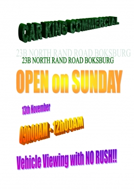 Car King Commercial Boksburg Open Sunday 010 492 6780 Junk Mail