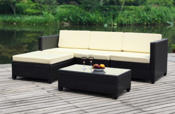 Marcella 5 Piece Rattan Patio Sectional Living sofa Set