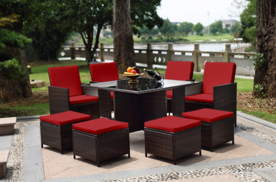 Hazlo 9 Piece Patio Wicker Rattan Cube Garden Dining Set w/ Pillows