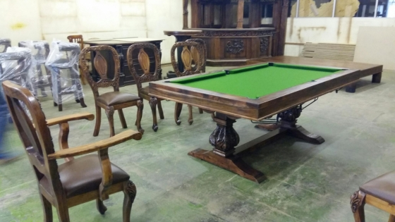 Exquisite 10 Seater Dining Room Set With Pool Table, Handcrafted Black Wood