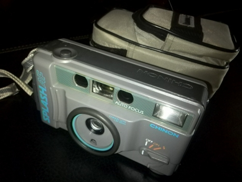 Motorized weatherproof colour camera, designed with water sport in mind (film not digital type)