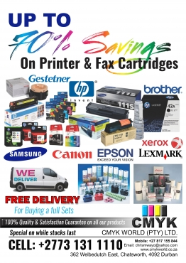 Save up to 90% on printer cartridges refill your old cartridges with Universal Refill Ink Call +27731311110