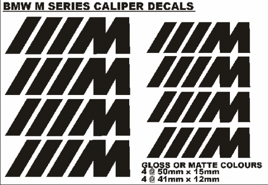 Set off 8 M series brake caliper decals stickers graphics