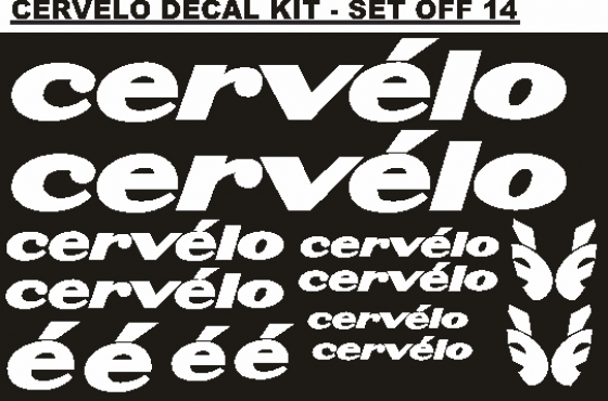 Cervelo frame and rim decals stickers graphics kits