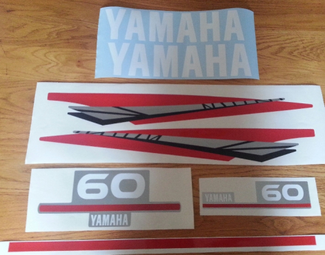 Yamaha two stroke 60 HP outboard motor cowl decals stickers graphics kits