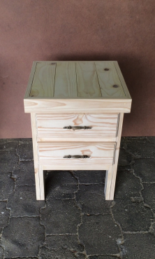 Night stand Farmhouse series 515 with 2 drawers extra height - Raw