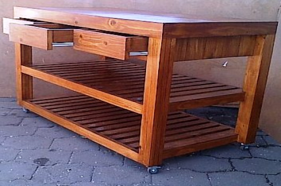 Kitchen Island Farmhouse series 1340 mobile with drawers Stained