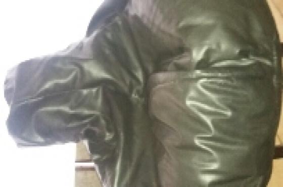 Black leather look beanbag