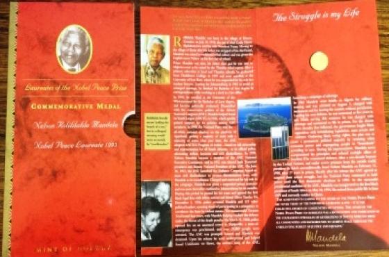 Gold Proof 2011 Mint Norway 1/10 oz Mandela Nobel Laureate 1993 Robben Island