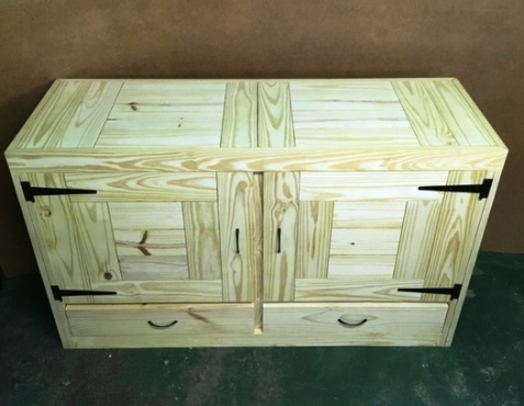 Vanity drawers and cupboard with doors Farmhouse series 1500 Raw