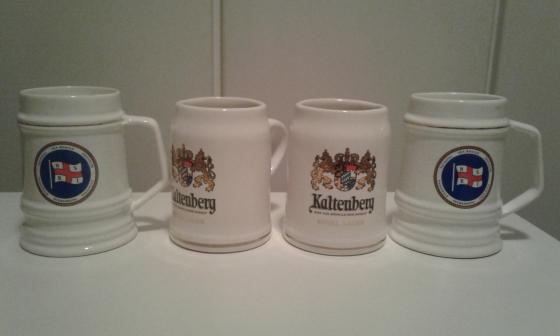 4 Beer Mugs, 2 x Kaltenberg embossed and 2 x N.S.R.I