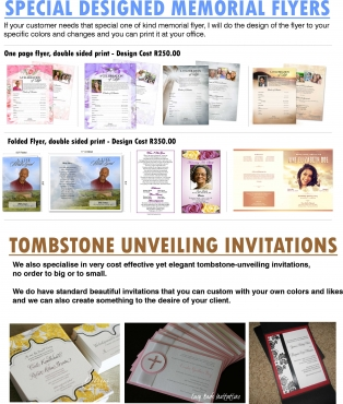 funeral flyers and tombstone unveiling invitations