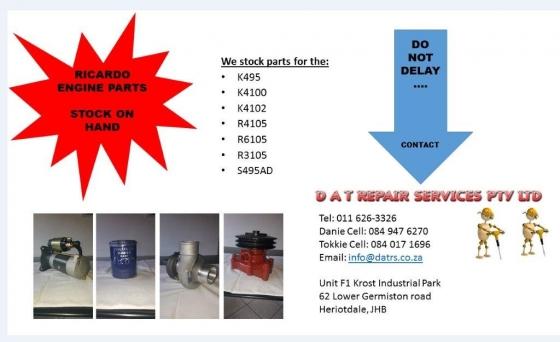 RICARDO DIESEL ENGINE SPARES 495 4100 4102 4105 3105 6105
