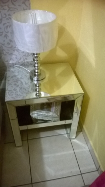 2 GLASS MIRRORED PEDESTALS FOR SALE