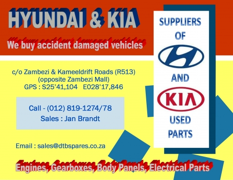 Hyundai & Kia  used spares for sale. Quality used parts at best prices !!!
