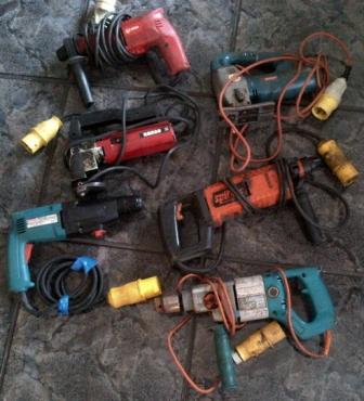 6 off industrial electric power tools.- 110 VOLT TOOLS