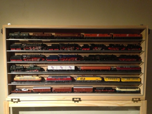 Train Model Display Cabinet With Glass Shelves, Custom Made   Dust Free !