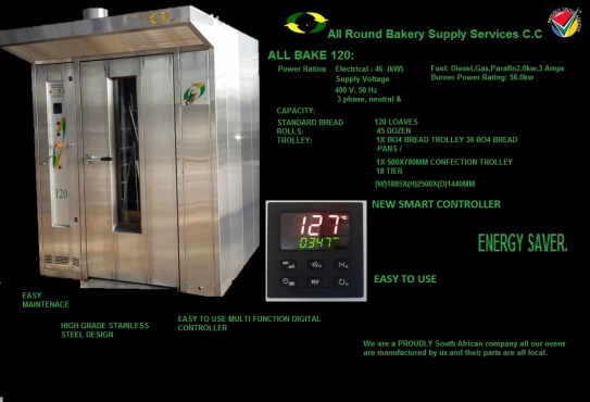 ALL BAKE 120 LOAF ROTARY OVEN ELECTRIC