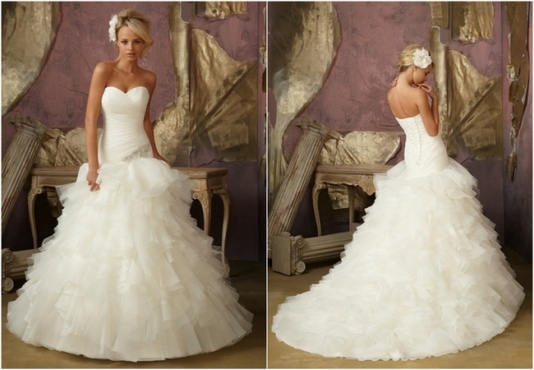 Ruffled tulle and organza Mori Lee