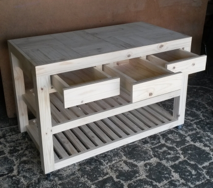 Kitchen Island Farmhouse series 1340 mobile with drawers Raw
