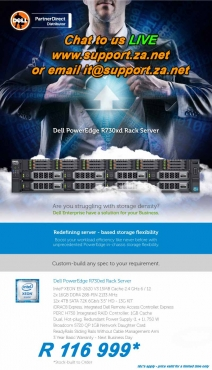 Dell PowerEdge R730xcl Rack Server only R116 999 SAVE R23999 Built To Requirements.