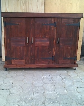 Kitchen Cupboard Farmhouse series 1450 with 3 doors and mobile Stained
