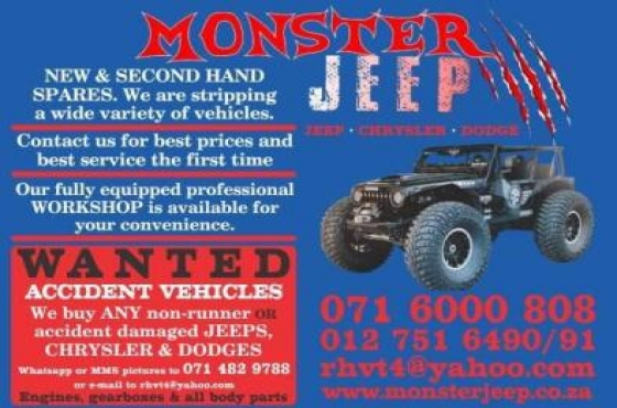 ACCIDENT DAMAGED JEEPS - WANTED