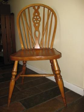 Oak wheel back chairs