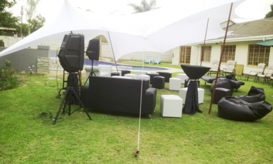 Stretch Tent for hire from R800. Marquees, frame tents, gazebos and umbrellas also available