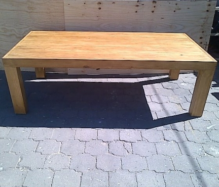 Patio table Chunky Farmhouse series 2400 with pillar legs Oak stained