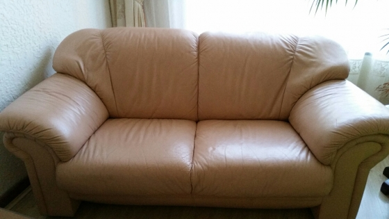 Salmon Leather Bonded 3 piece/ 6 seater couches