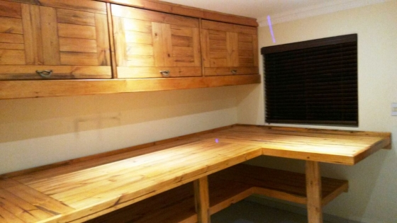 Work bench and Cupboard combo Farmhouse series 3950 L-shape Stained