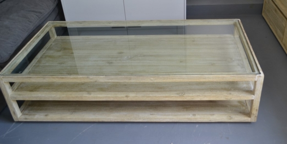 Never been used landscape acacia wood coffee table. Retails for R6599. Light with an organic feel.