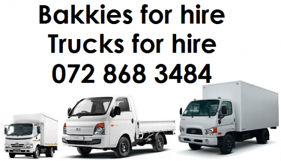 Bakkies for hire and trucks for hire from R400