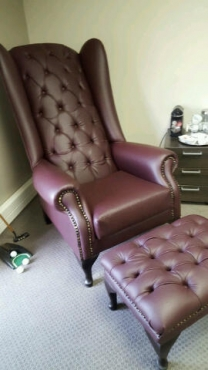 Stylish Wingback and Footstool Combo