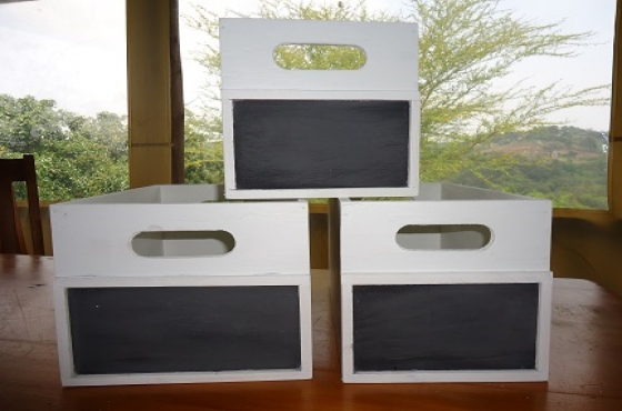 Handcrafted storage boxes with convenient blackboard (or without) to store anything and everything