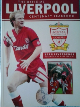 Liverpool Book, Figurine, Poster and Five Panoni Soccer Cards.