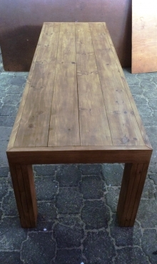 Patio table Chunky Farmhouse series 2500 Slimline with pillar legs Stained