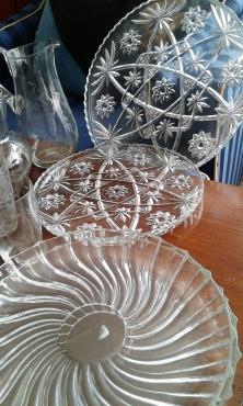 FOUR BEAUTIFUL CUT GLASS SAVOURY PLATTERS